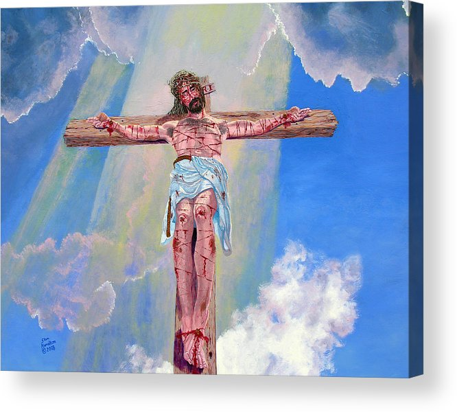 Christ Acrylic Print featuring the painting The Crucifixion Day by Stan Hamilton