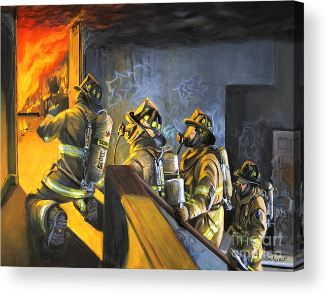 Firefighters Acrylic Print featuring the painting The Fire Floor by Paul Walsh