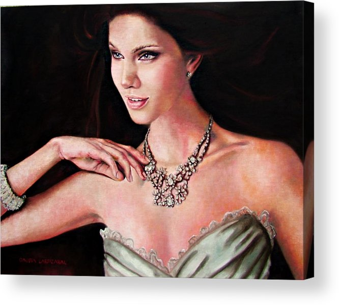 Crystal Acrylic Print featuring the painting The Look by Claudia Lardizabal