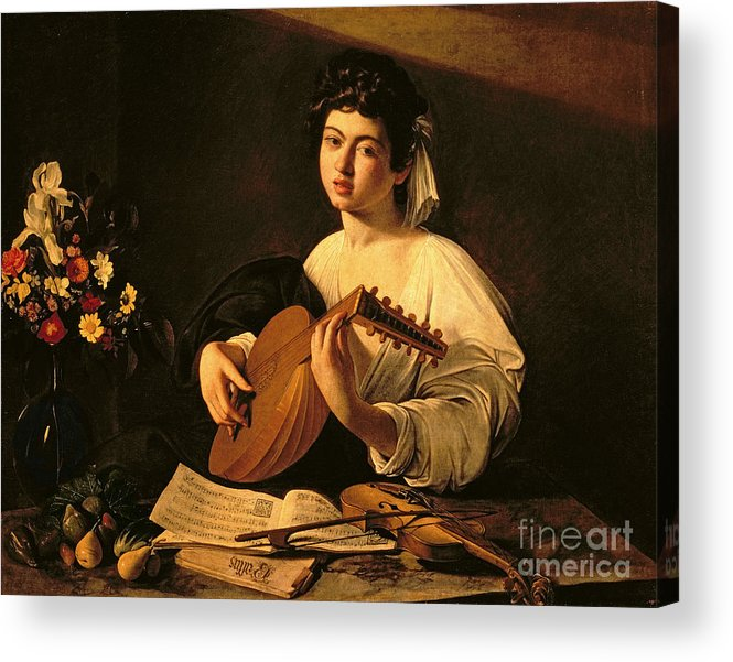 The Lute Player Acrylic Print featuring the painting The Lute Player by Michelangelo Merisi da Caravaggio