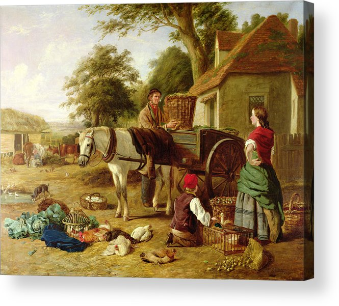 Rural; Farm; Horse; Harness; Poultry; Chickens; Ducks; Cows; Milking; Produce; Eggs; Cabbages; Bulbs; Farmyard; Farmhouse; Farmer; Family; Homegrown; Barrow; Victorian Acrylic Print featuring the painting The Market Cart by Henry Charles Bryant