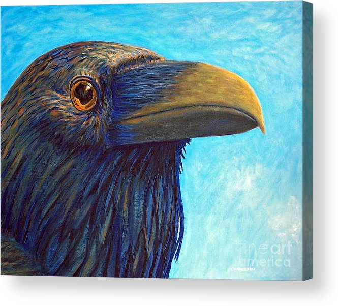 Raven Acrylic Print featuring the painting The Prophet by Brian Commerford