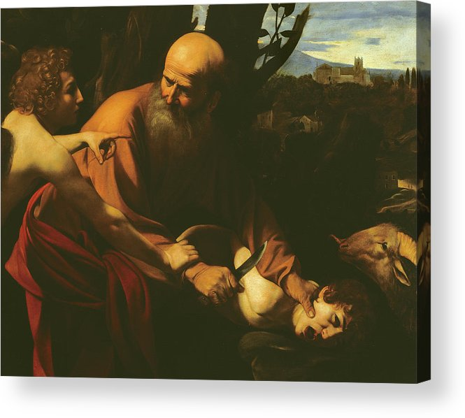 Caravaggio Acrylic Print featuring the painting The Sacrifice Of Isaac by Caravaggio