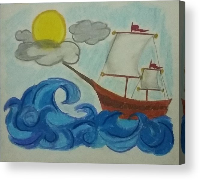 Sky Acrylic Print featuring the pastel The Ship by Osama Khan