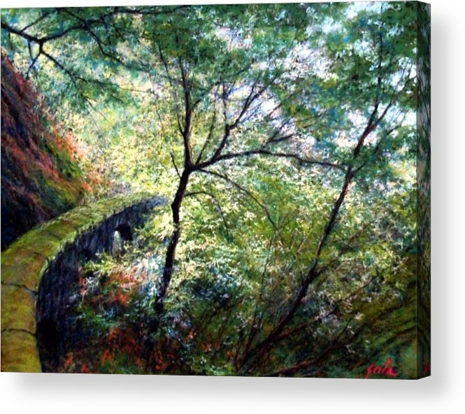 Pastel Acrylic Print featuring the painting The Stone Wall by Jim Gola