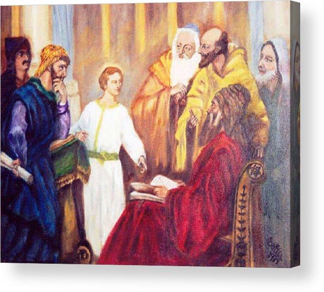 Jesus Pharisies Acrylic Print featuring the painting The Teacher by Gloria M Apfel