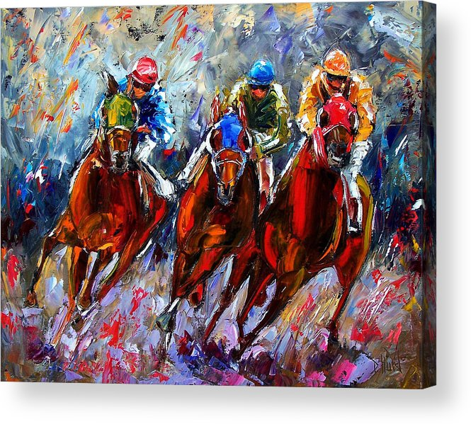 Horses Acrylic Print featuring the painting The Turn 2 by Debra Hurd