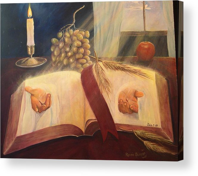Contemporary Acrylic Print featuring the painting The Word Made Flesh by Renee Dumont Museum Quality Oil Paintings Dumont