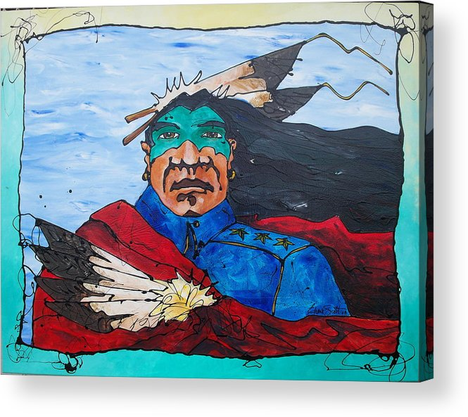 Native American Acrylic Print featuring the painting Three Star General by Ernie Scott- Dust Rising Studios