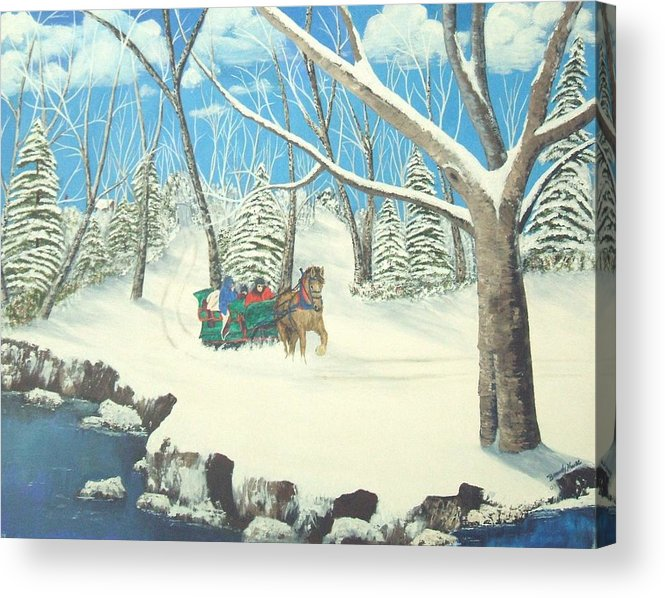 Snow Acrylic Print featuring the painting to Grandmothers House by Brandy House