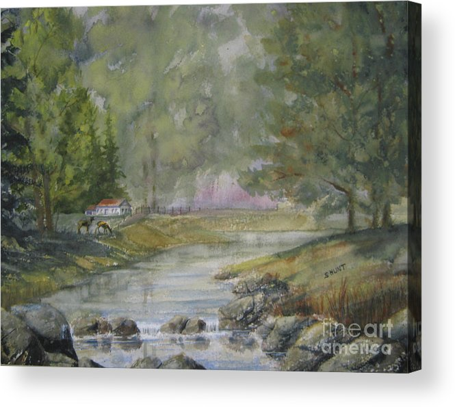 Landscape Acrylic Print featuring the painting Tranquility by Shirley Braithwaite Hunt