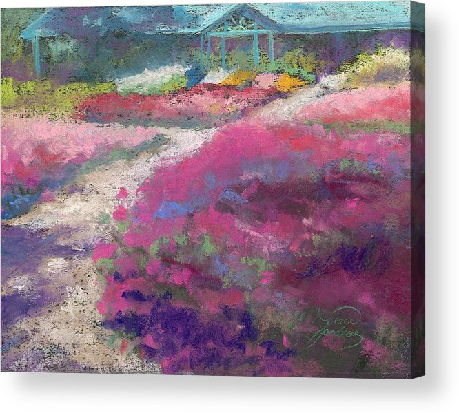 Landscape Acrylic Print featuring the painting Trial Gardens In Fort Collins by Grace Goodson