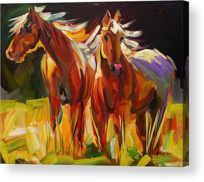 Painting Acrylic Print featuring the painting Two Horse Town by Diane Whitehead