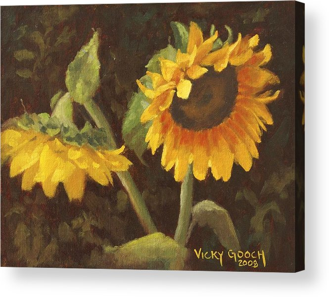 Floral Acrylic Print featuring the painting Two Sunflowers by Vicky Gooch