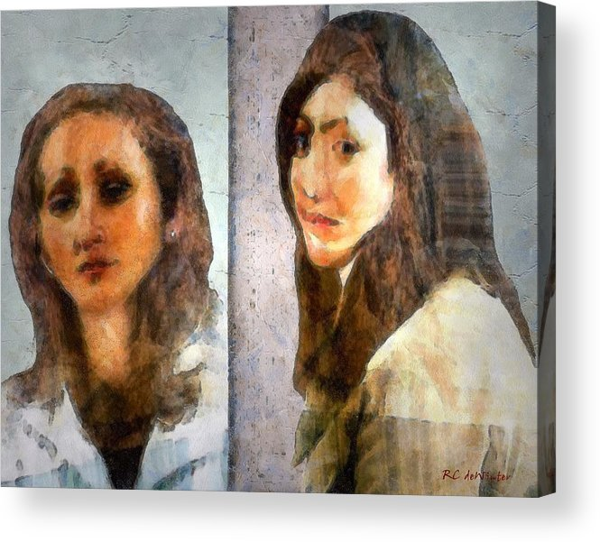 Abstract Expressionism Acrylic Print featuring the painting Two Women by RC DeWinter