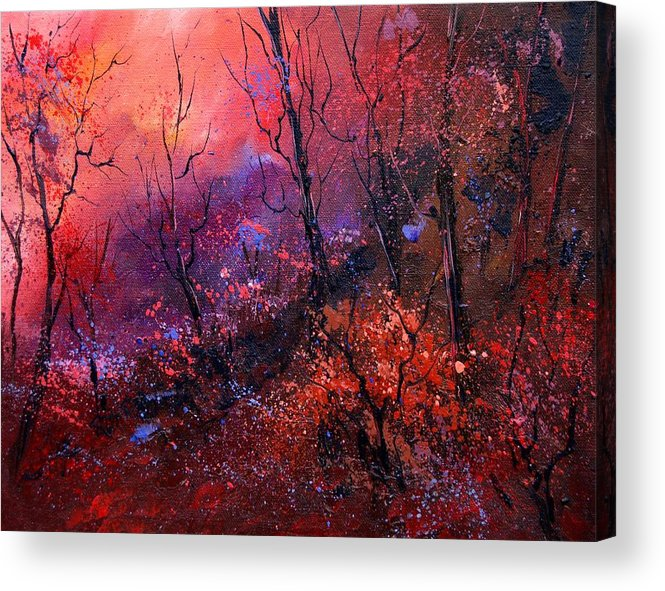 Wood Sunset Tree Acrylic Print featuring the painting Unset In The Wood by Pol Ledent