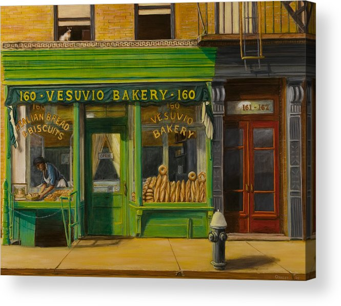 Vesuvio Bakery Acrylic Print featuring the painting Vesuvio Bakery In New York City by Christopher Oakley