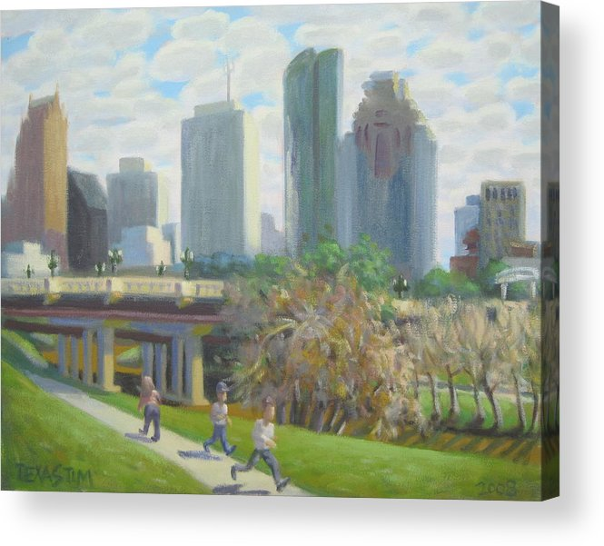 Skate Board Park Acrylic Print featuring the painting View From The Skate Board Park by Texas Tim Webb