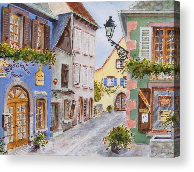 Village Acrylic Print featuring the painting Village In Alsace by Mary Ellen Mueller Legault