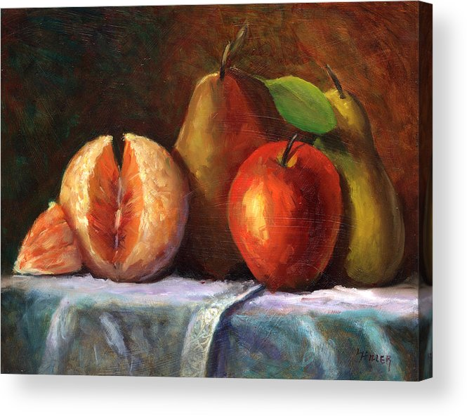 Fruit Painting Acrylic Print featuring the painting Vintage-fruit by Linda Hiller