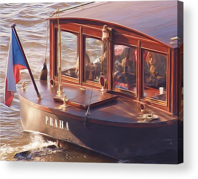 River Boat Acrylic Print featuring the painting Vltava River Boat by Shawn Wallwork