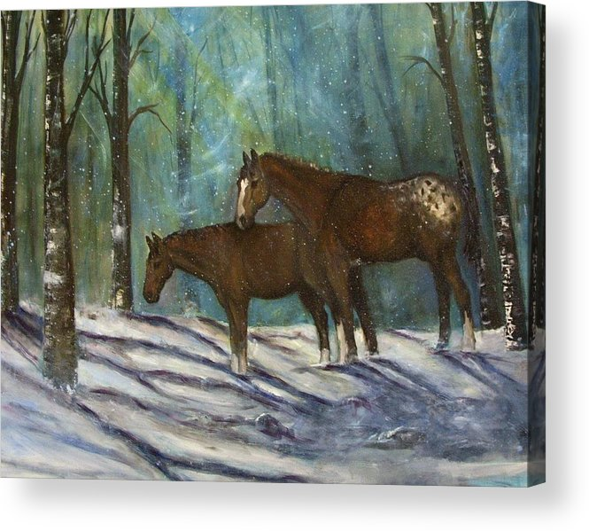 Horses Acrylic Print featuring the painting Waiting For Spring by Darla Joy Johnson