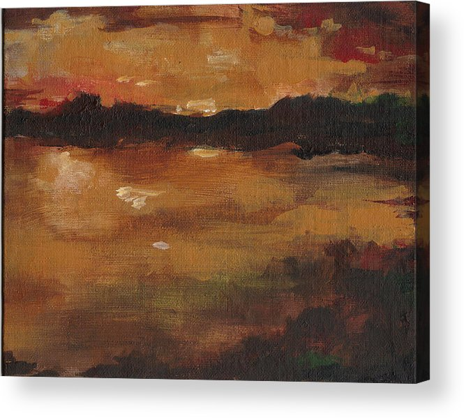 Sunset Acrylic Print featuring the painting Warm Glow Triptych 3 Of 3 by Cynthia Satton