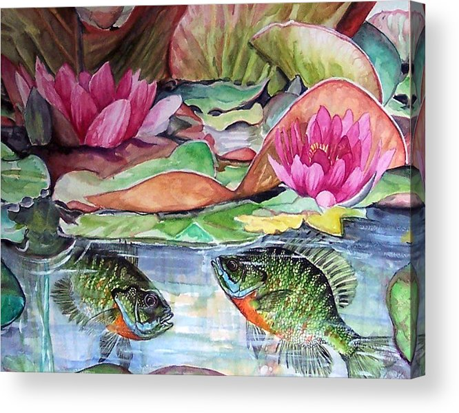Waterlillies Acrylic Print featuring the print Waterlillies And Blue Giles by Bette Gray