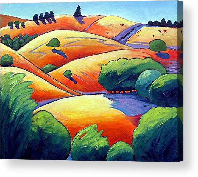Landscape Acrylic Print featuring the painting Waves Of Hills by Gary Coleman