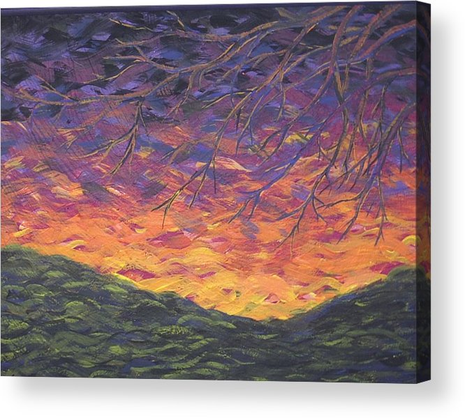 Sunset Tree Lanscape Bright Impression Acrylic Print featuring the painting Whisper by Sally Van Driest