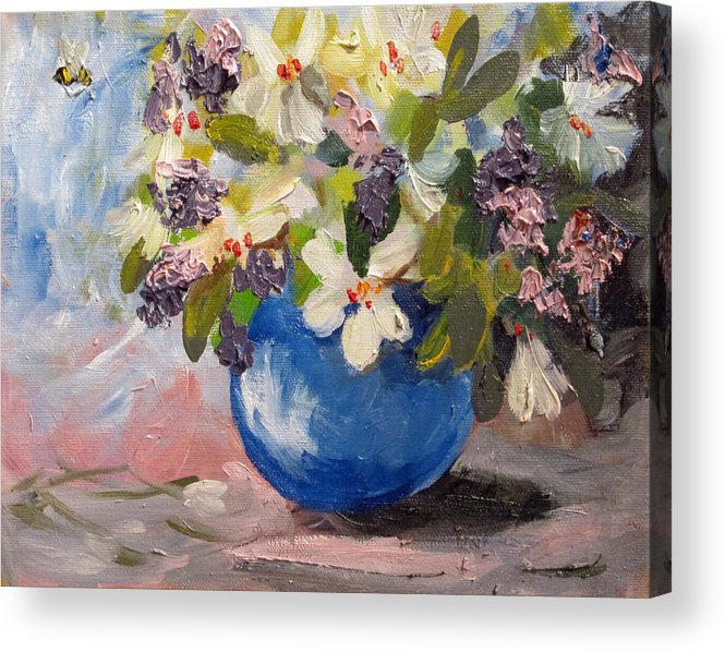 Flowers Acrylic Print featuring the painting White Flowers by Delilah Smith