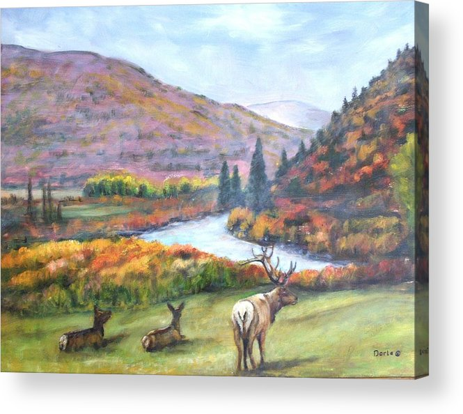 Landscape Acrylic Print featuring the painting White River by Darla Joy Johnson