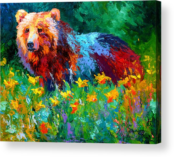 Bear Acrylic Print featuring the painting Wildflower Grizz II by Marion Rose