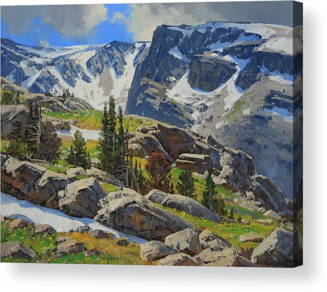 Landscape Acrylic Print featuring the painting Wind River Range-wyoming by Lanny Grant