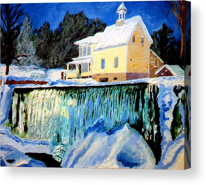 Waterfalls Acrylic Print featuring the painting Winter Falls by Stan Hamilton