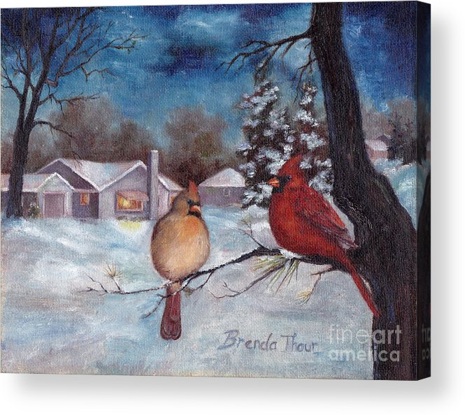 Cardinals Acrylic Print featuring the painting Winters Serenity by Brenda Thour
