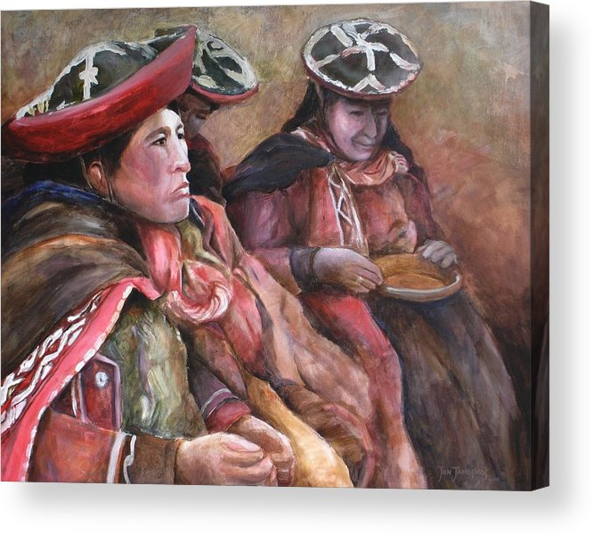 Andes Acrylic Print featuring the painting Women Of The Andes by Jun Jamosmos