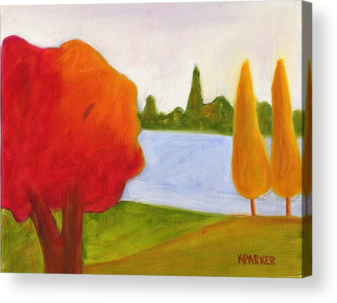Landscape Acrylic Print featuring the painting Yellow Trees by Kelly Parker