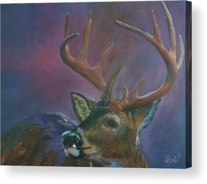 Buck Deer Paintings Acrylic Print featuring the painting You Wish by Bill Werle