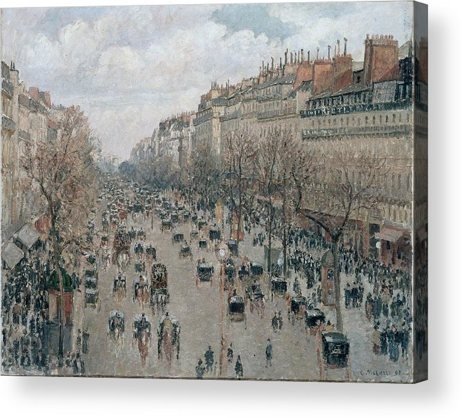 Camille Pissarro Acrylic Print featuring the painting Boulevard Montmartre - Afternoon, Sunlight, 1897 by Camille Pissarro