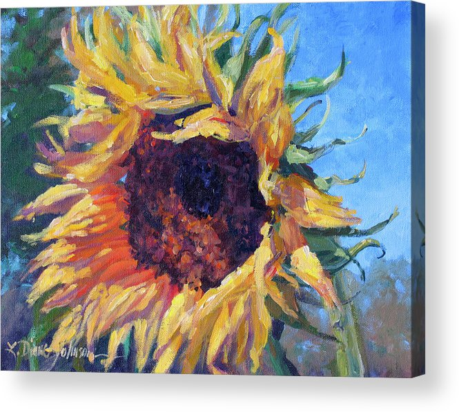 Sunflower Landscape Acrylic Print featuring the painting Good Mornin by L Diane Johnson