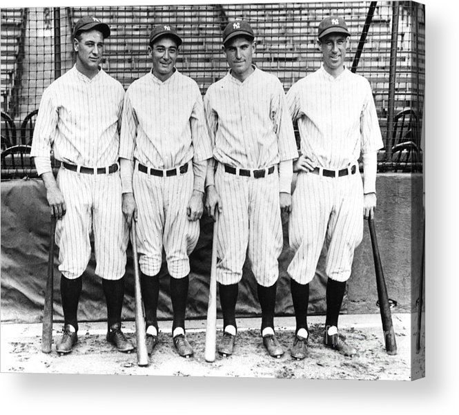 American League Baseball Acrylic Print featuring the photograph New York Yankee Infield 1927 by Transcendental Graphics