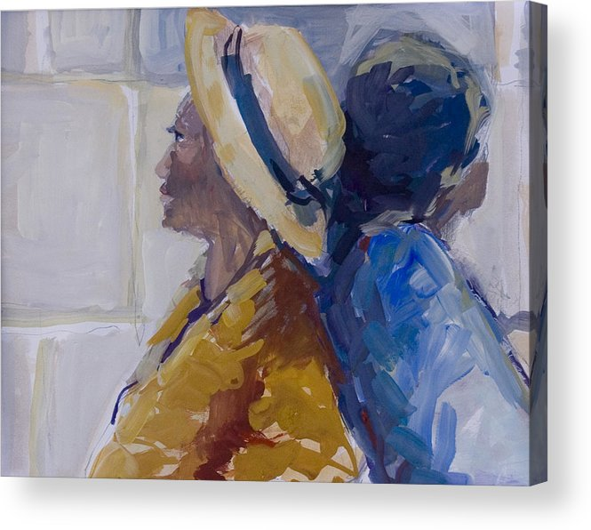 Figure Acrylic Print featuring the painting Backed Up by Pat White
