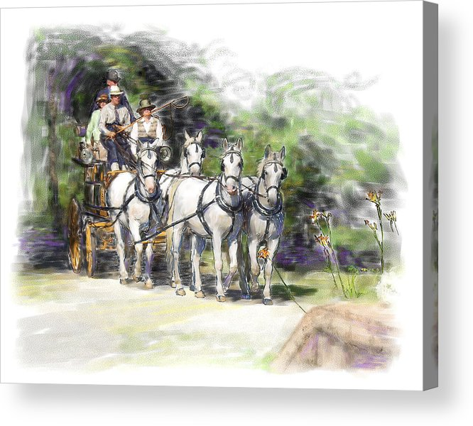 Horse Acrylic Print featuring the painting Coaching In Acadia- Carriage Driving Four In Hand by Connie Moses