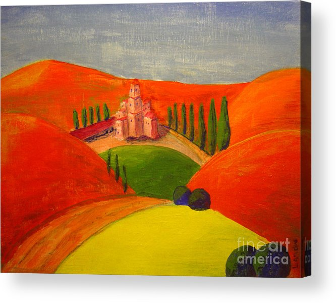 Landscape Acrylic Print featuring the painting Courtyard by Lilibeth Andre