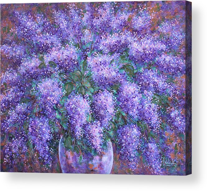 Flowers Acrylic Print featuring the painting Scented Lilacs Bouquet by Natalie Holland