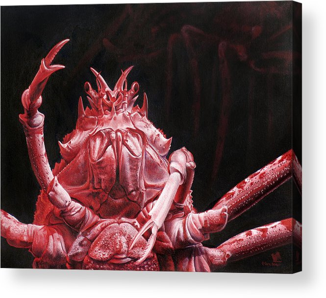 Crab Acrylic Print featuring the painting Crustacean Salutation by Cara Bevan