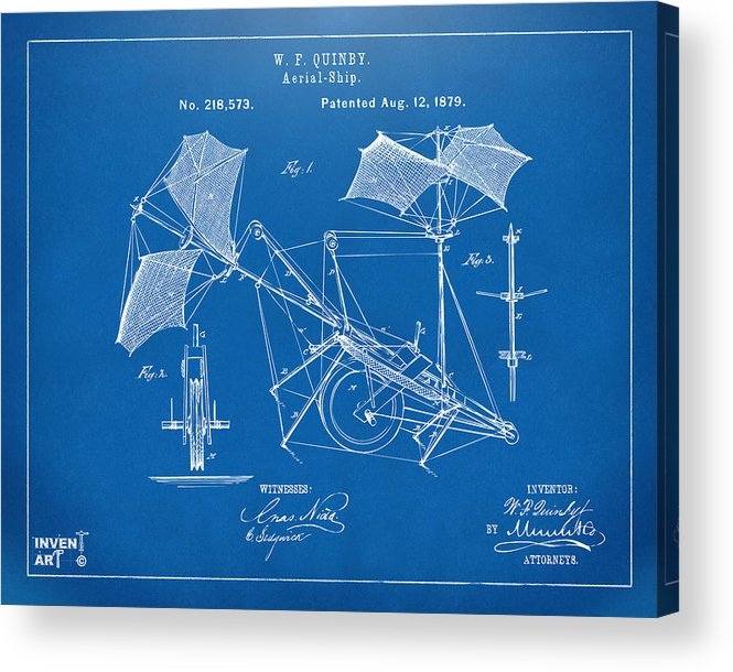 Aerial Ship Acrylic Print featuring the drawing 1879 Quinby Aerial Ship Patent - Blueprint by Nikki Marie Smith