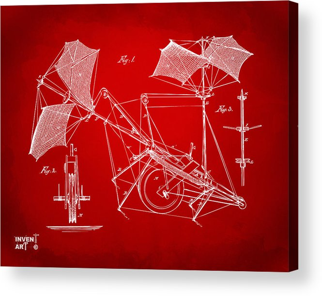 Aerial Ship Acrylic Print featuring the drawing 1879 Quinby Aerial Ship Patent Minimal - Red by Nikki Marie Smith