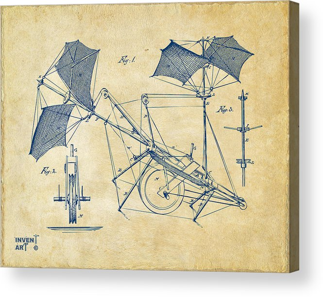 Aerial Ship Acrylic Print featuring the drawing 1879 Quinby Aerial Ship Patent Minimal - Vintage by Nikki Marie Smith